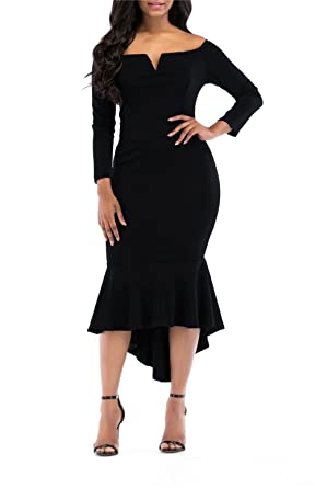 onlypuff Black Bodycon Dress Long Sleeve Cocktail Dress for Woman Fishtail  Solid Color S 18b3cd873595