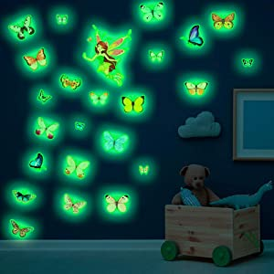 Glow in The Dark Butterflies Fairy Wall Decals, MOTASOM Magic Glowing Butterfly Wall Stickers, Self-Adhesive Luminous Fluorescent Decor for Kids Baby Bedroom Room Home Ceiling Nursery Decoration