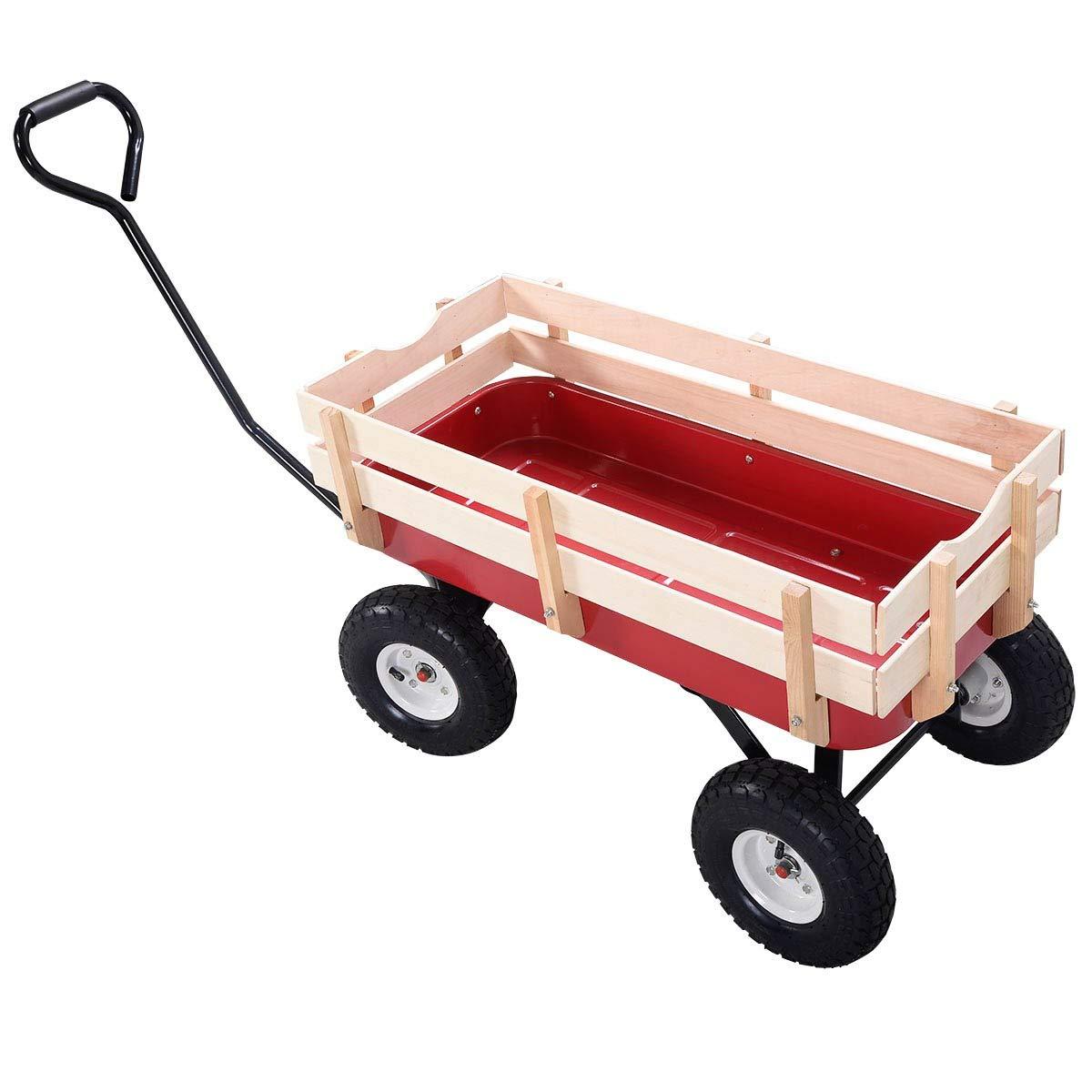 EnjoyShop2018 Outdoor Pulling Garden Cart Wagon with Wood Railing All-Steel Construction by EnjoyShop2018