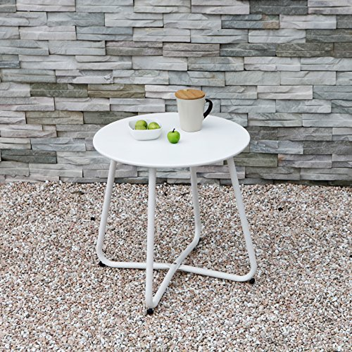 Grand Patio Steel Patio Coffee Table, Weather Resistant Outdoor Side Table, Small Round End Tables, White
