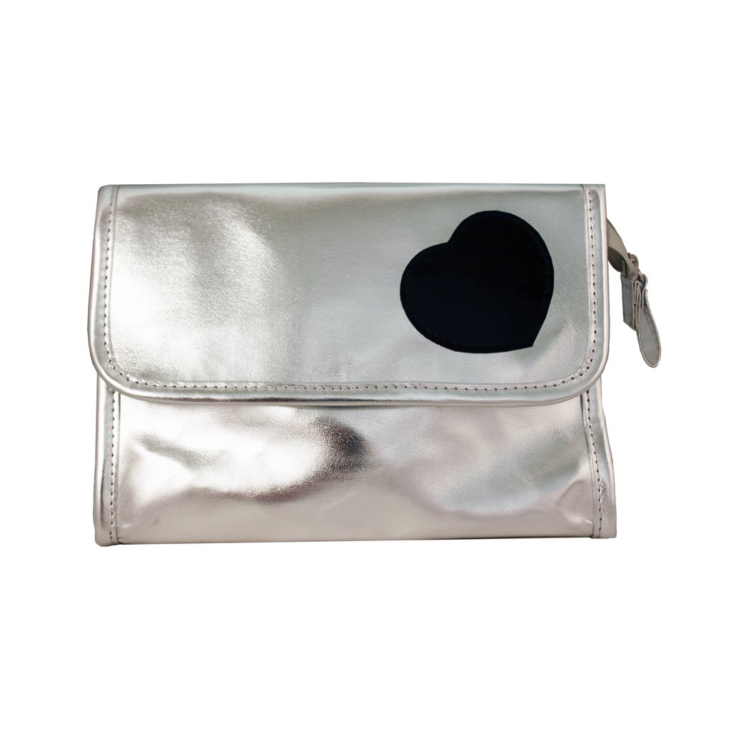 """Mia Cosmetic Bag With Mirror Inside Bag Flap-Metallic Silver Faux Leather With Black Patent Heart Design-Silver Zipper And Puller-Waterproof Inside-Measures 8"""" L X 3"""" D X 5"""" H (1 piece per package)"""