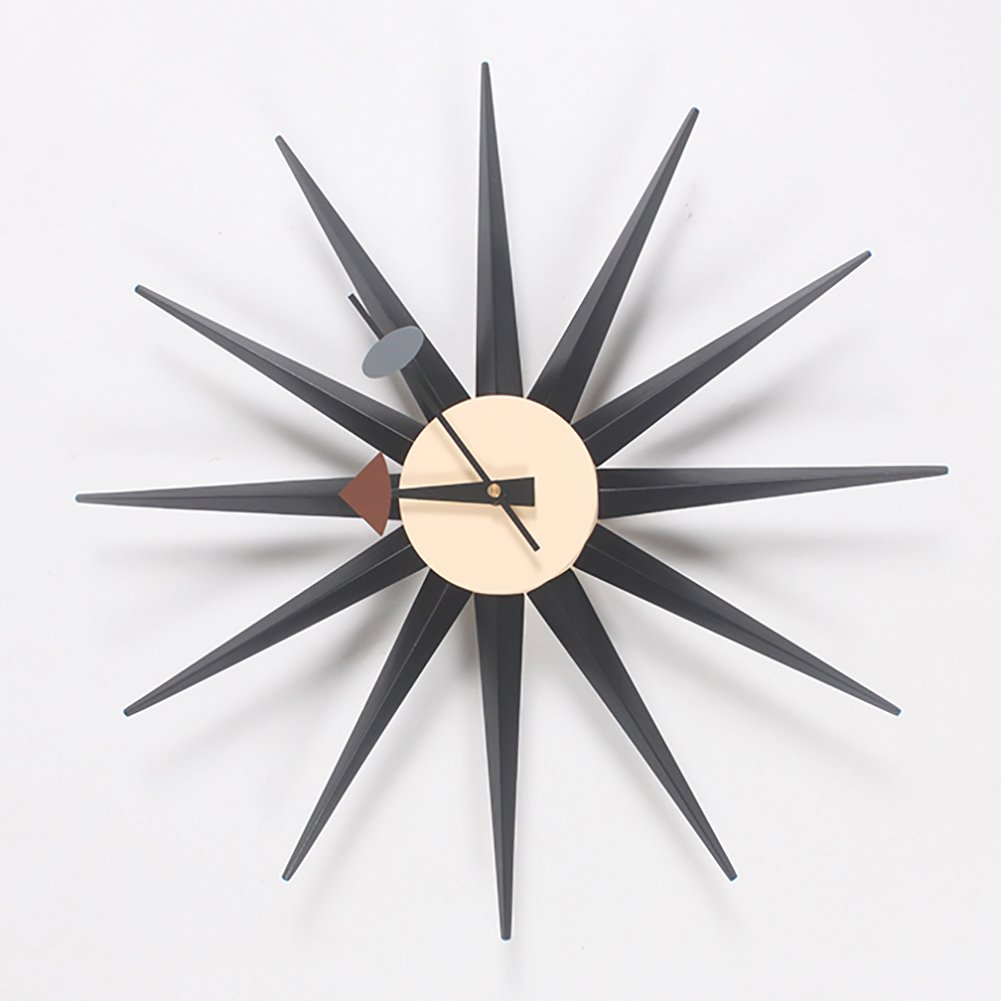 HHYS H663 Nelson Style Sunburst Wall Clock Mid Century Handmade Antique Retro Danish Multiple Colors To Choose From,Black