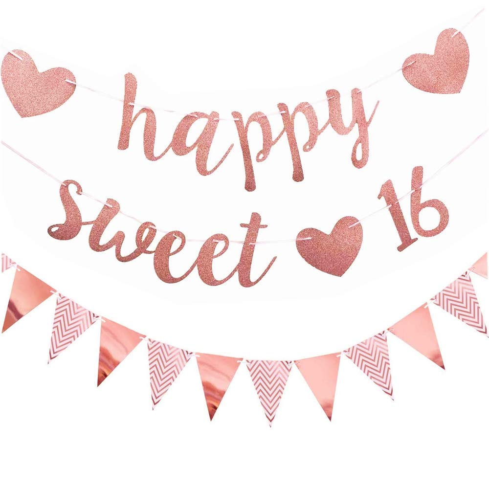16th Birthday Banner for Girl Rose Gold Happy Sweet 16 Banner Bunting Sixteen Party Decoration