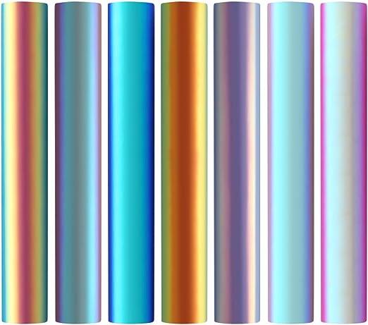 7 piezas de vinilo para manualidades holográficas de ópalo cromado ...