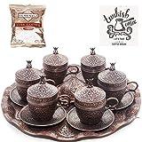 (SET of 6) Ottoman Turkish Greek Arabic Coffee Espreso Serving Cup Saucer (Kahvedan) (Copper)