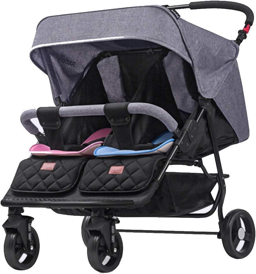 ダブルベビーカー、軽量ジョギング、3年6ヶ月間に適しサイドツイン席、調節可能な背もたれによるサイドとの容易な折りたたみ傘ベビーカー(グレー)