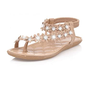 9ef7357bc0d3 DaoAG - Shoes Womens Bohemia Flat Sandals Flower Embellished Diamond Sandals  Ankle Strap Flip-Flop
