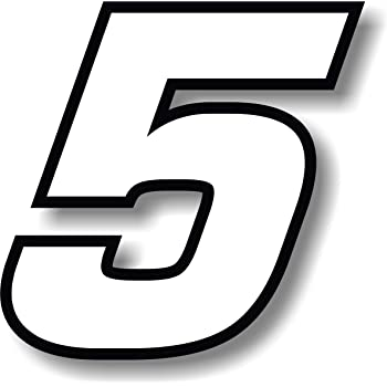 race number 8 square font Vinyl sticker//decal White Height: 5 inches Black outline