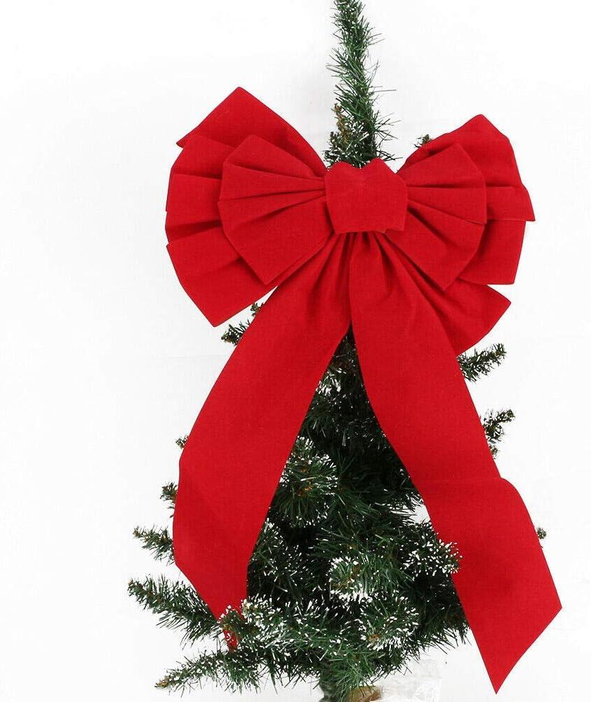SWL-seller 45CM Large Velvet Handmade Christmas Tree Topper Bow Xmas Home Decoration