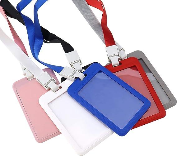 OTOTEC 6pcs 6 Couleurs ECO Friendly Plastique ID Nom Badge Carte Titulaire de Couverture du Titulaire Wallet avec Lanyard Sangle pour Bus Pass /Étudiant Didentit/é Dacc/ès