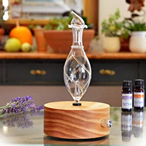 Aromatherapy Diffuser - Professional Grade - Wood and Glass (Solum Lux Vitis), Premium, Essential Oil Diffuser, Nebulizer, Nebulizing Machine, Waterless