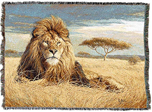 (Pure Country Weavers | King of The Pride Lion Africa Acacia Tree Woven Tapestry Throw Blanket with Fringe Cotton USA 72x54)