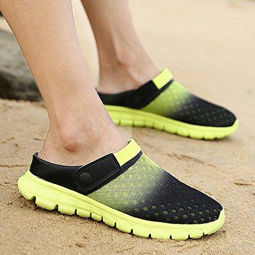 Xing Lin Sandalias De Hombre Los Hombres Del Agujero De Verano Zapatos Zapatillas Zapatillas De Playa De Ventilación De Tendencia Media Zapatillas Honeycomb Sandpiper Sandalias green