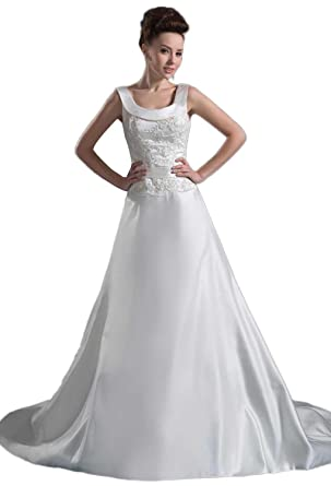 Angel Formal Dresses Satin Square Neck Wedding Dress at Amazon ...