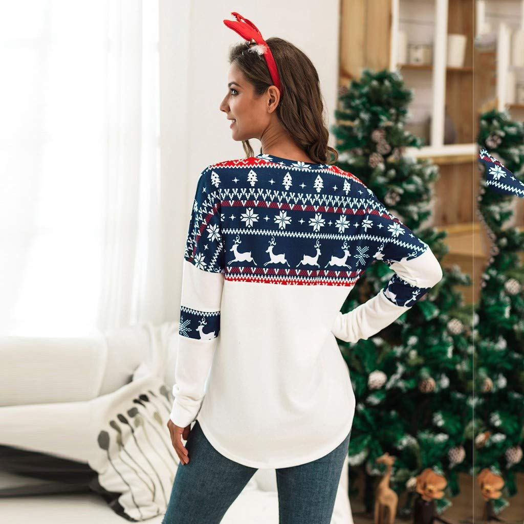 YESOT Christmas Women Xmas T-Shirt Ladies Long Sleeve Patching Blouse Casual Winter Autumn Sweatshirt Tops