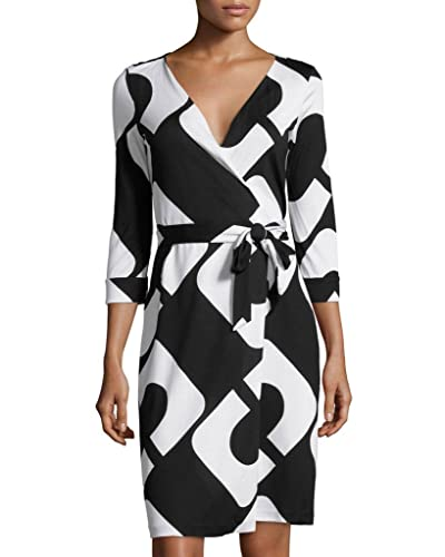 Diane von Furstenberg New Julian Two Wrap Silk Dress in CHAIN LINK HUGE