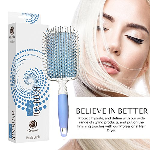 Soft Paddle Brush Infused with Ionic Minerals –Anti Static Flat Detangler Brush for Hair Styling, Blow Drying, Straightening – Gentle, Nylon Bristles, Easy Comfort Grip Flat by Osensia - Made in Korea by Osensia (Image #6)