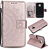Galaxy J2 Pro 2018 Floral Wallet Case,Galaxy J2 Pro 2018 Strap Flip Case,Leecase Embossed Totem Flower Design Pu Leather Bookstyle Stand Flip Case for Samsung Galaxy J2 Pro 2018-Rose Gold