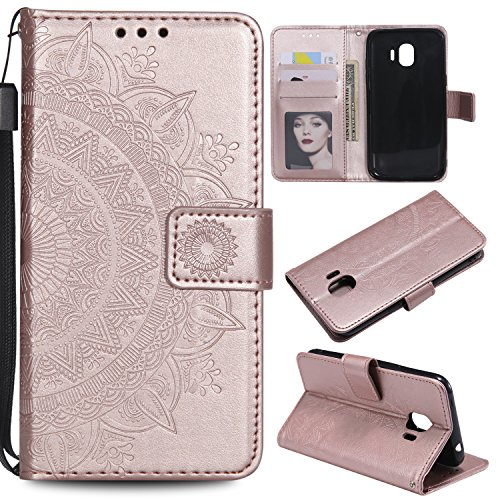 Galaxy J2 Pro 2018 Floral Wallet Case,Galaxy J2 Pro 2018 Strap Flip Case,Leecase Embossed Totem Flower Design Pu Leather Bookstyle Stand Flip Case for Samsung Galaxy J2 Pro 2018-Rose Gold by Leecase