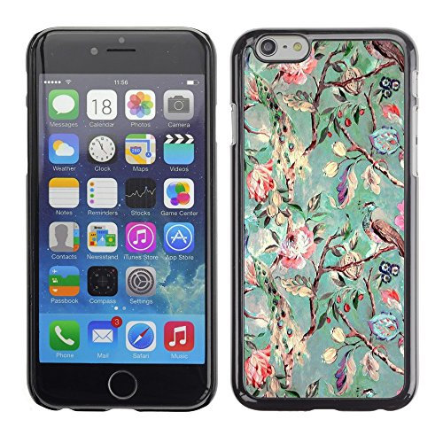 Soft Silicone Rubber Case Hard Cover Protective Accessory Compatible with Apple iPhone? 6 (4.7 Inch) - tree flowers teal drawing