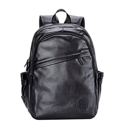 UKXMNC Men Backpacks Leather Laptop Bagpack Mens External Usb Port Backpack School Bag Sac Black 14
