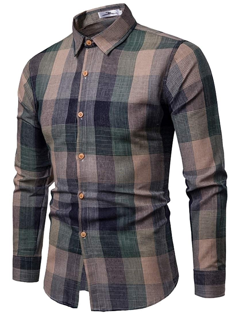 Mens Long Sleeve Plaid Regular Fit Button Shirt Flannel Work Dress Shirt