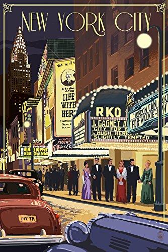 New York City, New York - Theater Scene (9x12 Collectible Art Print, Wall Decor Travel - New Street Scene York