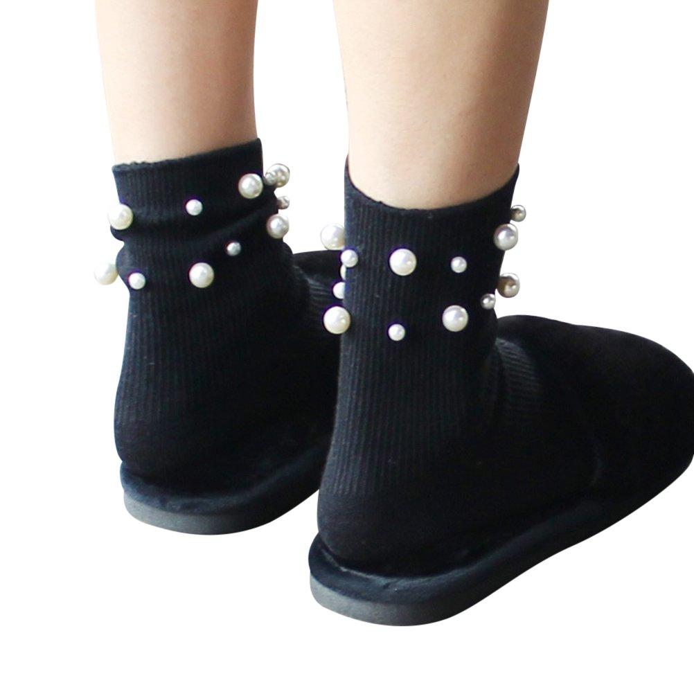 Calzini da donna cotone OULII perle decorative casual calze da corte ragazza Taglia unica (Nero) Z11QXGM380219RFQOJFXCFNLN