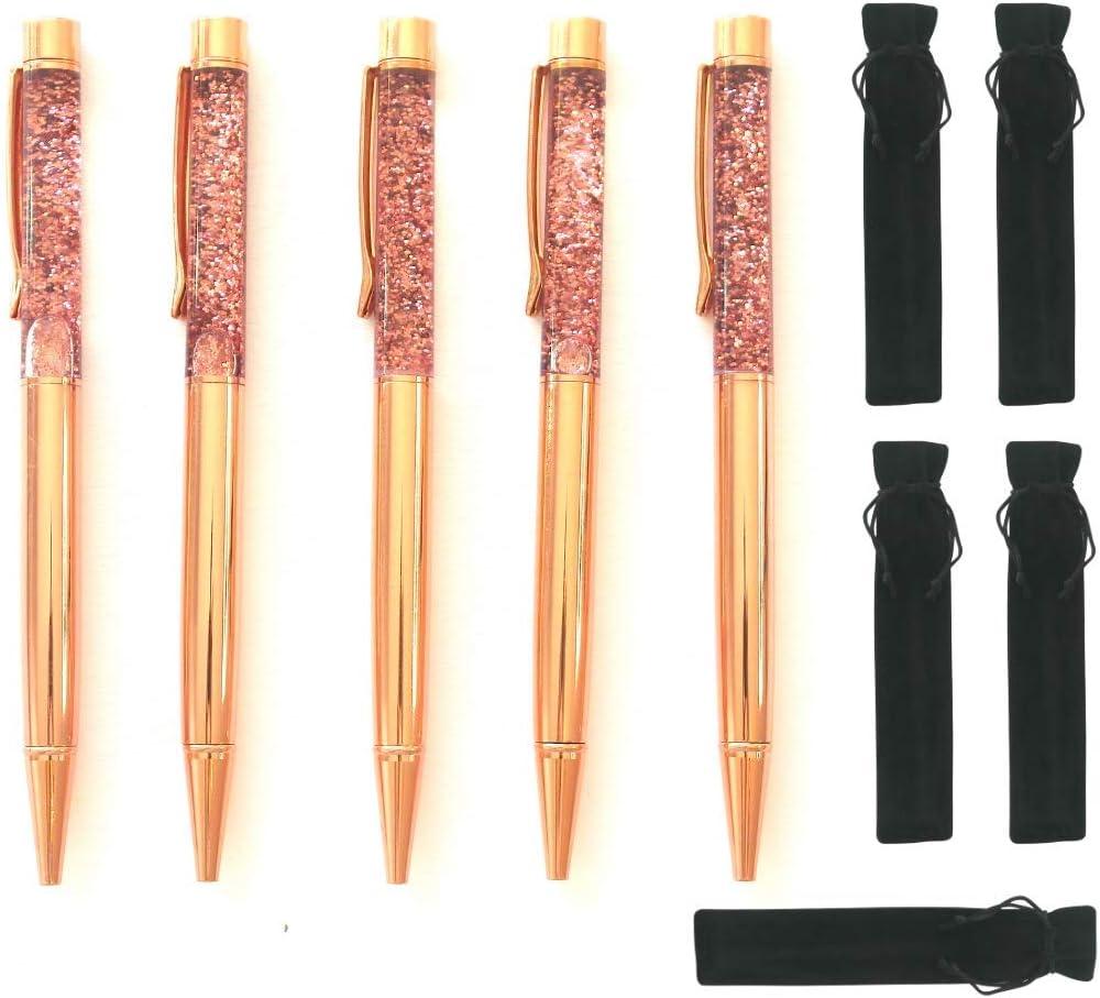 Rose Gold Pen Set of 5 For Women Fun Dynamic Liquid Sand Glitter Fancy Pens | Office Supplies Cute Decor Desk Accessories Pretty Cool Crystal effect