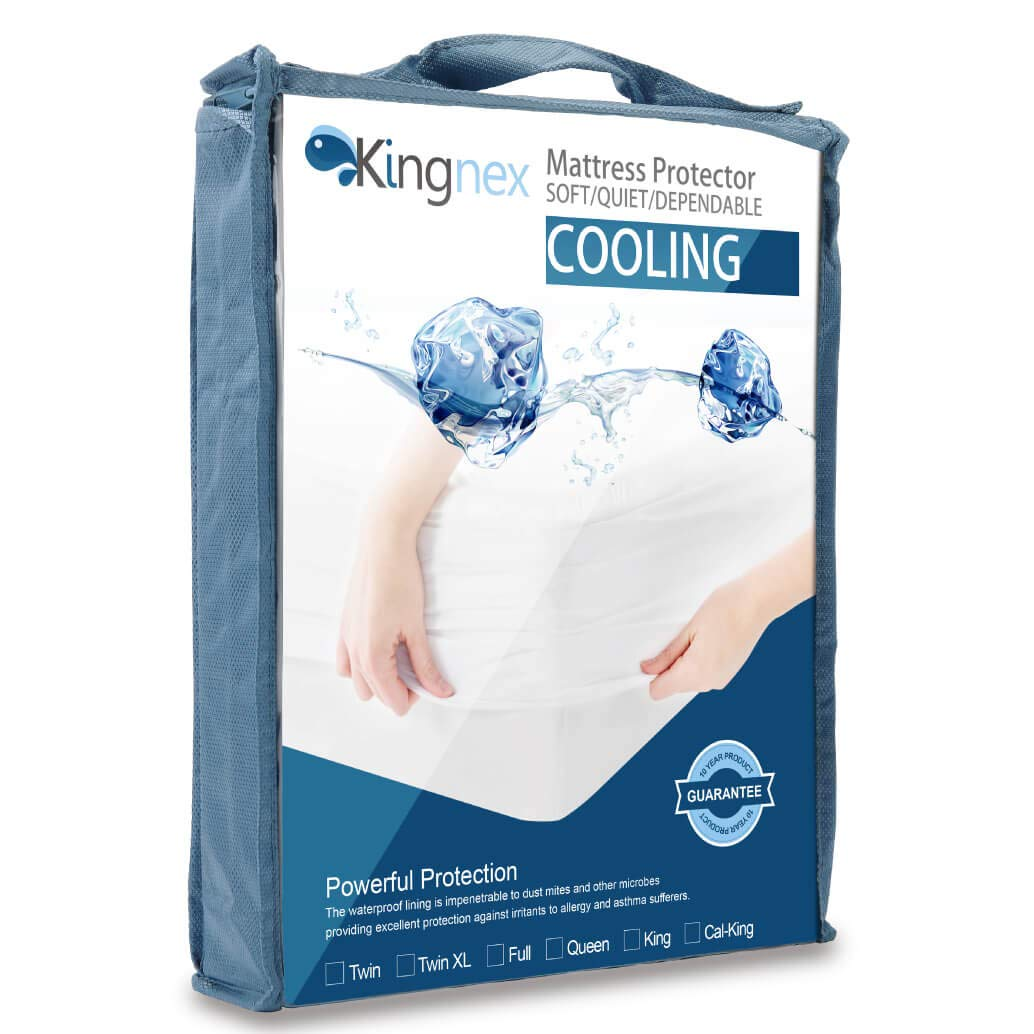 Kingnex Cooling Mattress Protector Extra Long Twin XL - Cool to The Touch - 100% Waterproof - Hypoallergenic - Fitted Sheet Style Mattress Cover