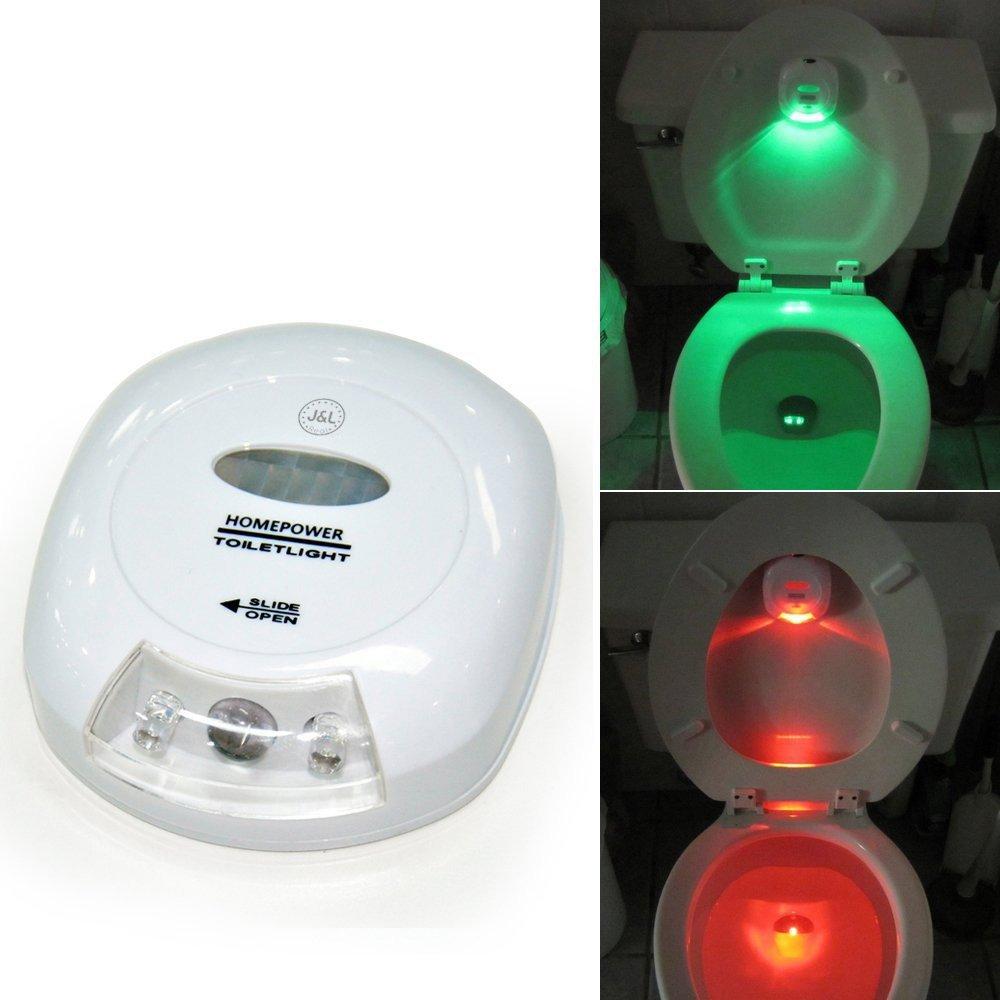 J & L表示LEDセンサーモーションアクティブ化トイレ常夜灯battery-operatedと赤と緑のライトToilet Seat上下 B01AJLY4UG 14973