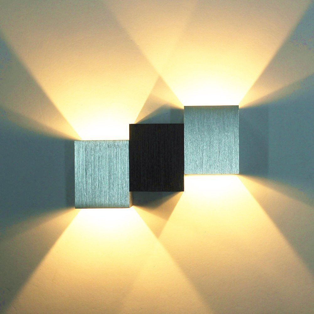 OWIKAR Led Wall Lights, 6W LED Wall Sconce Lights Cubic Body Aluminum Wall Lamp Up and Down Illuminating Wall Sconce Decorative Lamp for KTV Theater Bar, Bedroom and Living Room (Warm White)