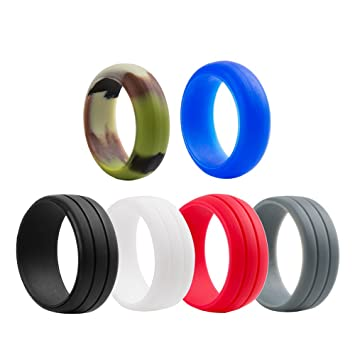 Silicone Wedding Ring For Men ,Silicone Wedding Band , ICharmore 6 Rings  Pack Engagement Ring