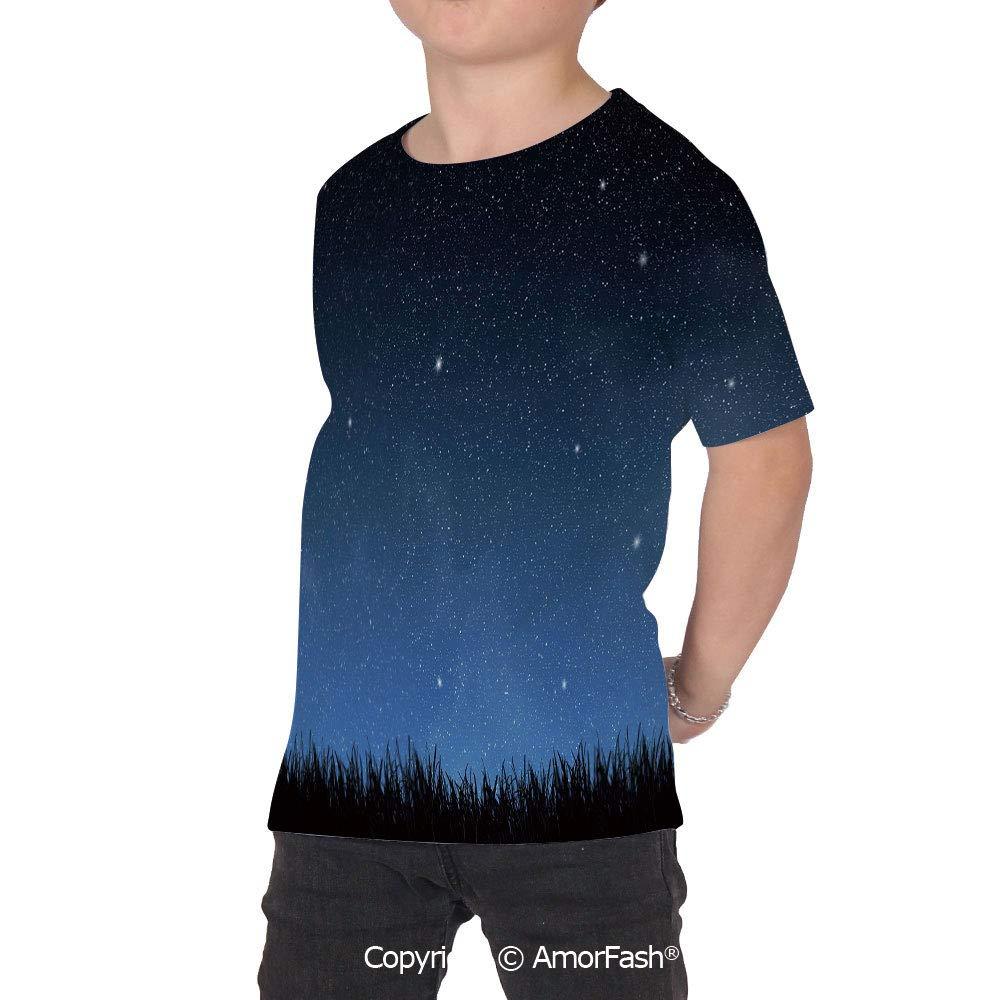 Night Sky Colorful Boys and Girls Soft Short Sleeve T-Shirt,Park Farm Garden Gra