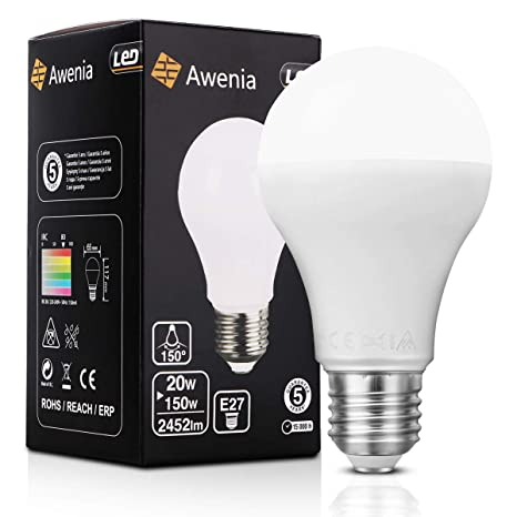 Awenia Bombilla LED Esférica E27 20W (Equivalente a 150W), Luz LED 3000K 2452