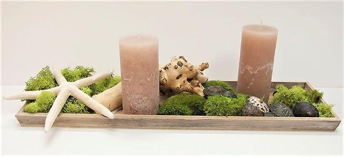 Deko Set Exotisch Grun Natur Inkl Tablett Und Kerzen Geschenk