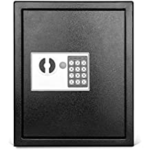 Flexzion Key Cabinet Steel Lock Box Colored key Tags & Hooks - Wall Mounted Safe Organizer, Security Storage Lock Box System for Homes, Hotels, Schools or Business (Digital, 40 capacity, Black)