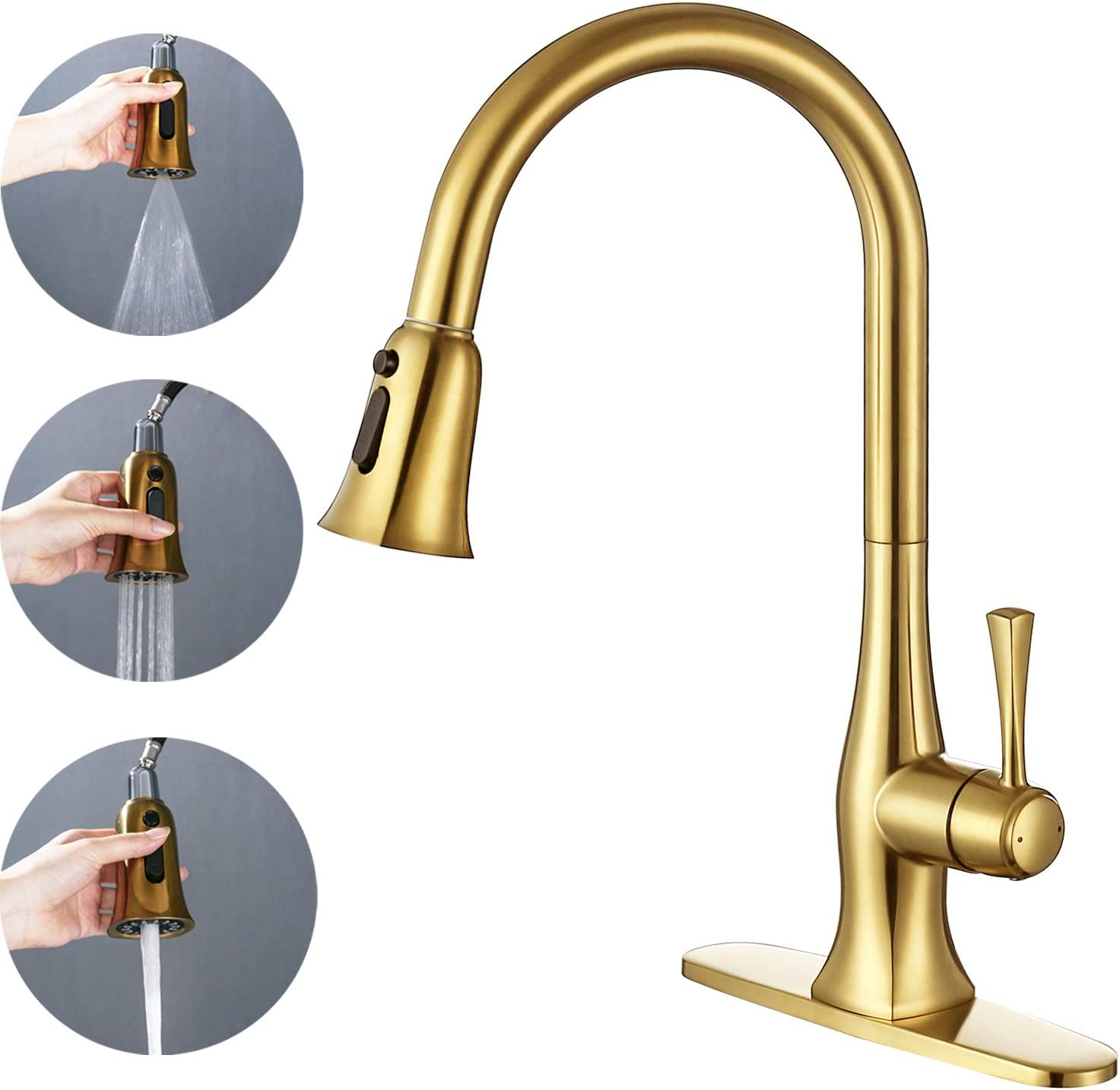 TRUSTMI Single Handle Brass Kitchen Faucet with Pull Down Sprayer,Commercial Kitchen Sink Faucet Swivel Bar Sink Vessel with 3 Ways Pull Out Spray Head /& Deck Plate Brushed Gold