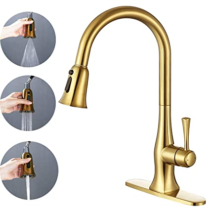 Gold Kitchen Faucets With Pull Down Sprayer Single Handle High Arc Brass Kitchen Bar Sink Faucet With Pull Out Sprayer Single Hole And 3 Hole Deck