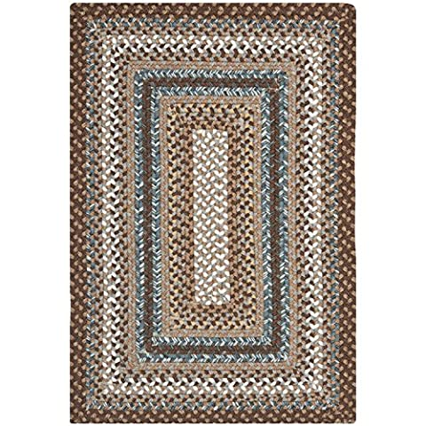 Safavieh Braided Collection BRD313A Hand Woven Brown and Multi Area Rug (2' x 3') (Cotton Area Rugs 2x3)