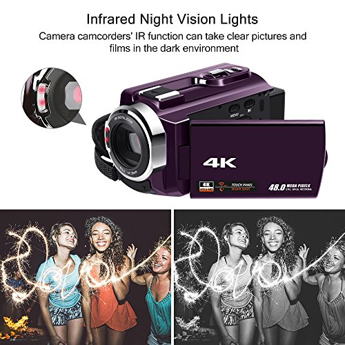 Video Camera 4K Camcorder Ultra HD WiFi Digital Camera Camcorders with IR Night Vision and External Wide Angle Lens and Macro Lens