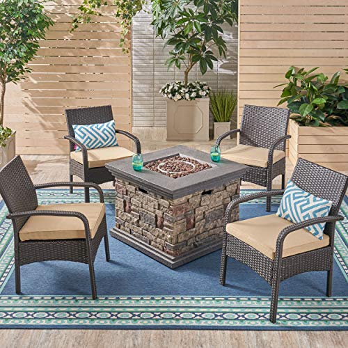 Great Deal Furniture Meroy Patio Fire Pit Set, 4-Seater with Club Chairs, Wicker with Outdoor Cushions, Brown, Tan, Stone Finish