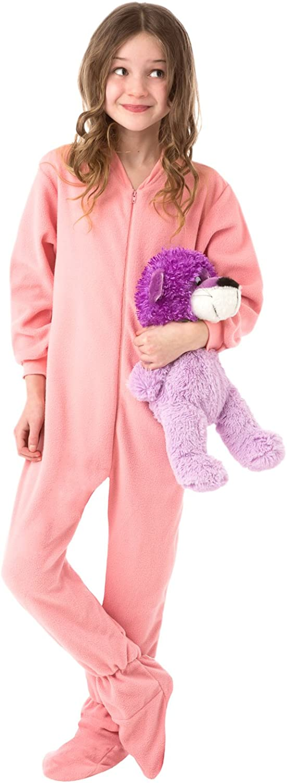 Big Feet PJs Big Girls Kids Pink Fleece Footed Pajamas Onesie Footie Pajamas