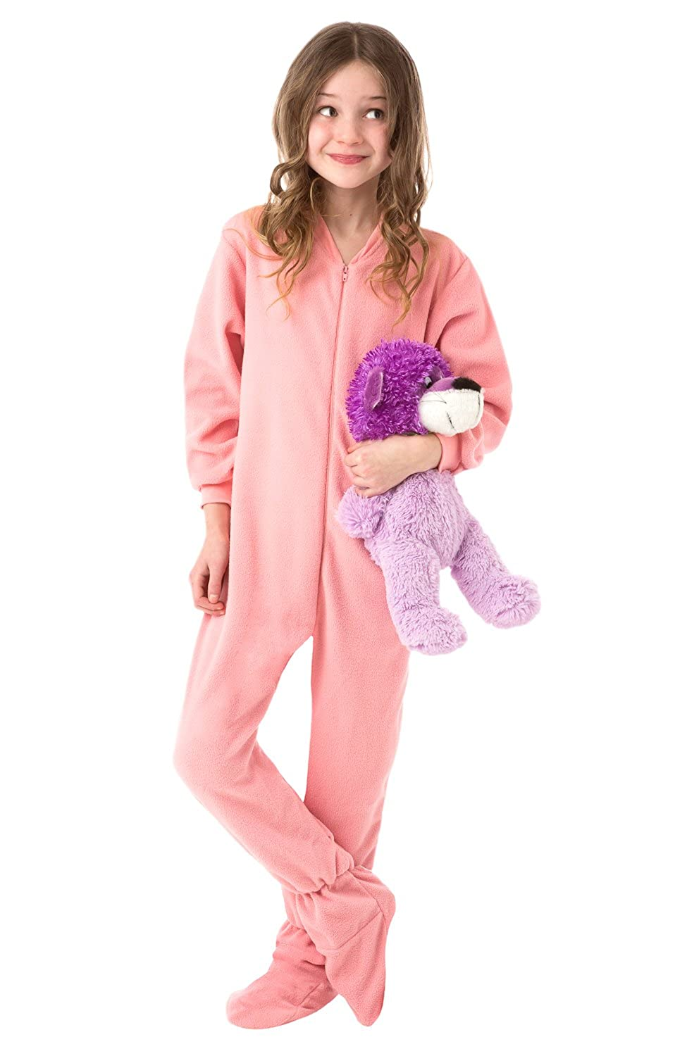 1c2616dec1c9 Big Feet PJs Big Girls Kids Pink Fleece Footed Pajamas Onesie Footie Pajamas