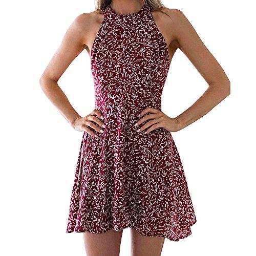 (Aniywn Women's Sleeveless Halter Neck A-Line Casual Party Dress Floral Print Backless Beach Skater Mini Dress Wine)