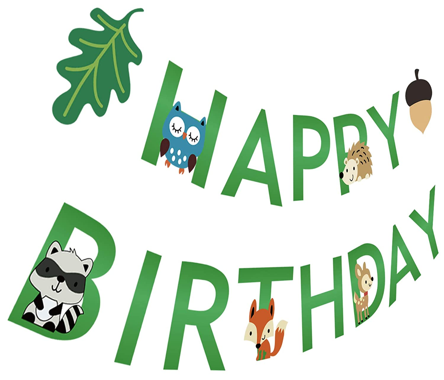 Silvima Woodland Creatures Birthday Banner, Forest Animal Friends Happy Bday Party Hanging Sign Decorations