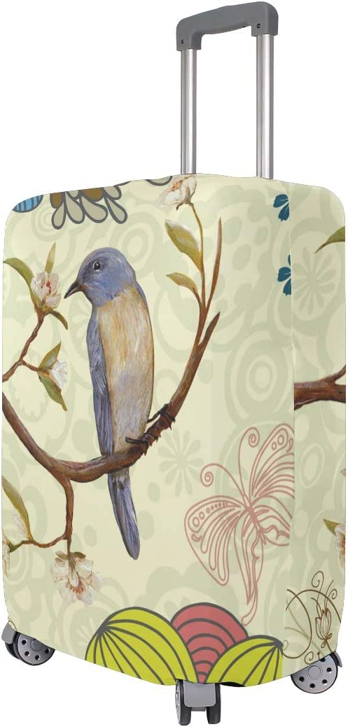 FOLPPLY Vintage Spring Floral Birds Luggage Cover Baggage Suitcase Travel Protector Fit for 18-32 Inch