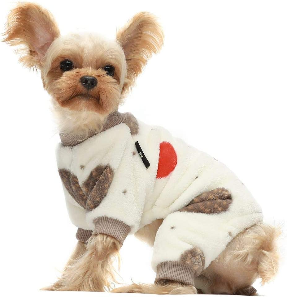 Fitwarm Hedgehog Thermal Pet Winter Clothes for Dog Pajamas Cat Onesies Jumpsuits Thick Velvet Cream White