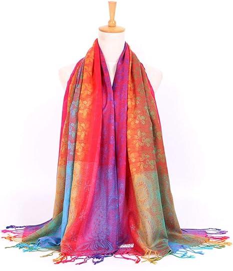AiNaMei Señoras otoño e invierno cálido sarga bufanda de flores de algodón