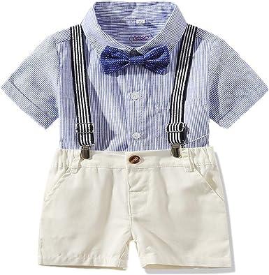 Bom Bom Conjunto de Verano para Bebe Nino Camisa Manga Corta + Pantalon Corto + Lazo: Amazon.es: Ropa y accesorios